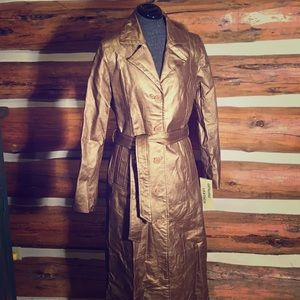 NWT Long Gold Leather Coat size SM/Tall